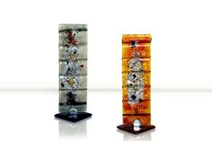 Coloured Glass Decorative Pillars – Papyrus Collection £29.00  Elegant vertical decorative pillar in either grey or amber. Two fused glassed pieces crafted into an eye-catching piece of artwork.
