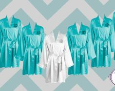 FREE ROBE - Set of 7 - Tiffany Blue - Personalized Satin Robes - Bridesmaid Gift - Wedding