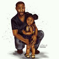 """""""Daddy's Girl"""" by Fashion Illustrator @Peniel_Enchill Black Love Art, Black Girl Art, Black Is Beautiful, Black Girl Magic, Art Girl, Black Child, Black Man, Afrique Art, Natural Hair Art"""