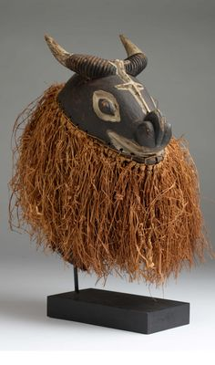 Africa | Helmet mask from the Yaka people of DR Congo | Wood, pigment and natural fibers