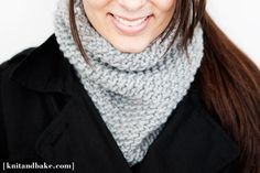 [ knitandbake.com ] one night, one skein, easy seed stitch cowl pattern <3