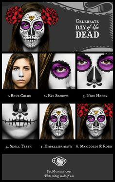 Photo effects showing how to make a Day of the Dead sugar skull, step by step Halloween 2015, Holidays Halloween, Halloween Make Up, Halloween Face Makeup, Halloween Costumes, Halloween Goodies, Halloween Party, Sugar Skull Makeup, Sugar Skull Art
