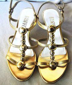 FRANCO SARTO GOLD LEATHER STRAPPY SANDAL KITTEN HEELS SLING BACK Sz 6M  #FrancoSarto #Strappy #Clubwear
