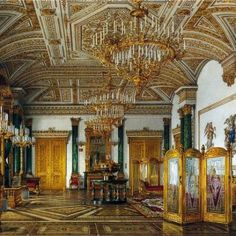 Currently viewing : Outstanding 18th Century Interior Artwork The Ornate Opulence Photo 1: Malachite Room. Ornate Opulent Russian Palace 18th Century