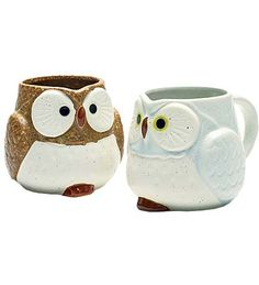Have a spot of tea or cocoa with our molded Ceramic Owl Mugs. These wise old owls are made from porcelain stoneware and hand decorated in Japan.