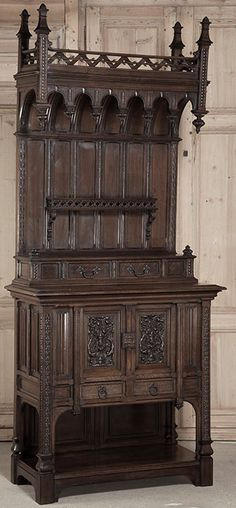 Antique Gothic Walnut Buffet | Antique Furniture | Inessa Stewart's Antiques | www.inessa.com #gothic #antique #furniture