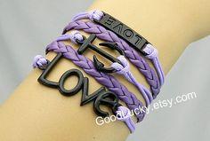 Bracelets,anchor bracelet,love bracelet,telesthesia,leather bracelet,hipster jewelry,couples bracelet,braided bracelet,black charm bracelet from Picsity.com