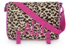 Monogrammed Messenger Bag Pink Leopard by Monogramjunkie on Etsy, $40.00