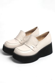Leather Platform Loafer Ivory 30% Off Now + Free Delivery Worldwide http://www.thewhitepepper.com/collections/shoes/products/leather-platform-loafer-ivory