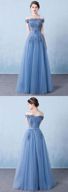 A Line Prom Dress,Blue Prom Dress,tulle lace Prom