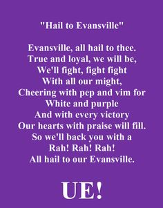 UE Fight Song - Andrea and I have been known to sing this after a few cocktails. Still know it by heart! Must be all those Aces basketball games we sat through. University Of Evansville, Hand Signals, Fight Song, Faith Hope Love, Basketball Games, College Life, Awesome Things, Great Quotes, Indiana
