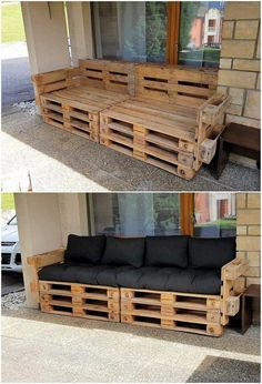 What Can You Make with Wood Pallets? Easy Projects You will probably be finding this creation of wood pallet so eye-catching and peacefully attractive looking. Well, this creation is dedicatedly designed in the artistic. Wood Pallet Couch, Wood Pallet Furniture, Modern Bedroom Furniture, Diy Pallet Furniture, Woodworking Furniture, Furniture Projects, Wood Pallets, Living Room Furniture, Woodworking Projects