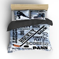 Hockey Goalie And Words Theme Bedding Set Duvet Or Comforter In regarding proportions 1950 X 1950 Hockey Bedroom Sets - An extra room is really a room at Mens Bedding Sets, Duvet Bedding Sets, Comforters, Bedspreads, Boys Hockey Bedroom, Hockey Room, Hockey Baby, Hockey Decor, Sports Bedding