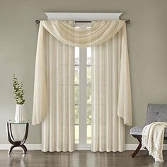 Scarf Curtains, Window Scarf, Voile Curtains, Valances For Living Room, Living Room Windows, Curtains Living, Unique Curtains, Modern Windows, White Paneling
