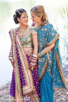 These darling Maharanis wed in a gorgeous ceremony in the wine country! Outdoor Indian Wedding, Indian Wedding Ceremony, Indian Wedding Outfits, Indian Weddings, South Indian Bride Hairstyle, Indian Bride And Groom, Lgbt, Lesbian Wedding Rings, Wedding Movies