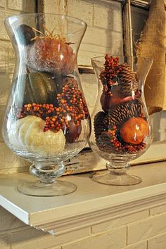 A great way to decorate with pine cones for fall