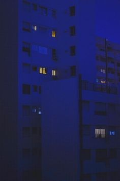 blue city by matialonsor Blue Aesthetic Dark, Night Aesthetic, City Aesthetic, Aesthetic Colors, Aesthetic Pictures, Building Aesthetic, Photo Wall Collage, Picture Wall, Everything Is Blue
