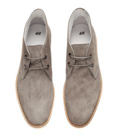 Desert boots in 100% grey suede with laces at front. Rubber soles. | H&M For Men