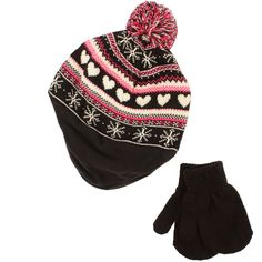3ed913ab8d7 Winter 2pc Soft Baby Kids 0-2 Lined Beanie Knit Earflap Hat Gloves Set Black