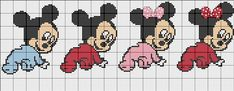 Minnie Baby, Mickey Y Minnie, Baby Disney, Cross Stitch Bookmarks, Cross Stitch Baby, Disney Stitch, Mini Mouse, Beaded Animals, C2c