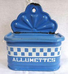 Vintage French Enamelware Match Box Allumettes Blue