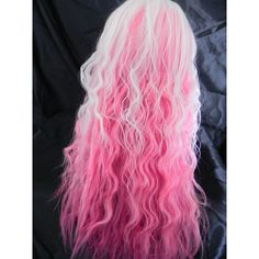 Pink and White Long Wavy Layered Wig (€86) ❤ liked on Polyvore featuring beauty products, haircare, hair styling tools, hair, cabelos and curly hair care