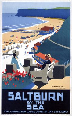 Saltburn by the Sea, Yorkshire. Vintage LNER Travel poster by Henry George Gawthorn Saltburn by the Sea Yorkshire. Vintage LNER Travel poster by Henry George Gawthorn Posters Uk, Train Posters, Railway Posters, Vintage Travel Posters, Vintage Postcards, Retro Posters, Vintage Ski, Vintage Pink, Travel Ads