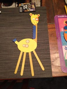 """Naturally, I thought """"giraffes ruin Popsicle sticks. Giraffe Crafts, Popsicle Sticks, Giraffes, Ruin, Popsicles, Tweety, Kids, Ice Popsicles, Children"""