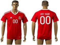2016 European Cup Wales Home Custom Red Men's Soccer A+ Shirt