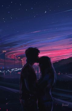 Love Art Print by aenami Cute Couple Drawings, Cute Couple Art, Anime Love Couple, Cute Couple Pictures, Cute Couples, Couple Pics, Couple Quotes, Scenery Wallpaper, Love Wallpaper