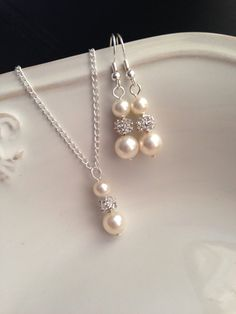 Set of 4 Bridesmaid Necklaces and Earrings 4 by AnaInspirations, $56.00
