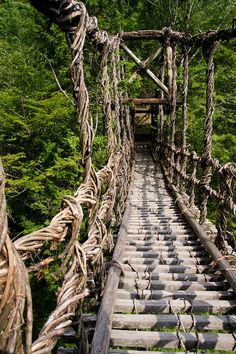 Kazura Bridge, Iya valley, Tokushima, Japan this just looks cool. Would you walk on this? Tokushima, Most Beautiful Cities, Japan Travel, Pathways, Scenery, Places To Visit, Around The Worlds, Tours, Adventure