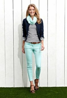 Stripes cute blouse with magic mint casual plan jeans and cute scarf and navy blue jacket and brown leather belt and stylish sandals