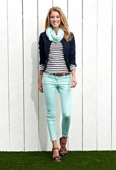 Navy, mint, stripes
