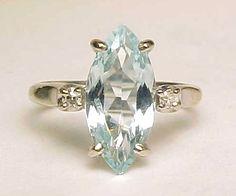 Finest Vintage Real 14k White Gold 2 1 2CARAT Ct Natural Aquamarine Diamond Ring | eBay