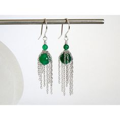 Emerald Green Earrings, Sterling Chain Drop Earrings, Boho Chic... (100 ILS) ❤ liked on Polyvore featuring jewelry and earrings