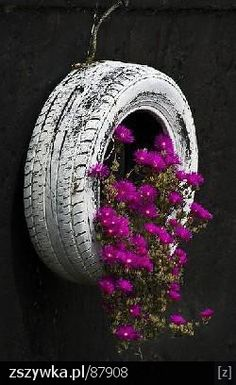 repurposed tire to planter