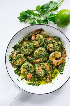 Chimichurri Shrimp- A fast, flavorful and easy appetizer or dinner! GF | www.feastingathome.com