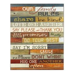 Our Family Rules Wooden Sign | Kirklands