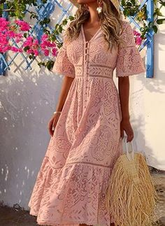 If you're looking for a single breasted, v neck dress look no further than this! Our sexy dress will add an instant style upgrade to your closet. Midi Dress With Sleeves, Half Sleeve Dresses, The Dress, Pink Dress, Casual Dresses, Dress Outfits, Fashion Dresses, Prom Dresses, Women's Fashion