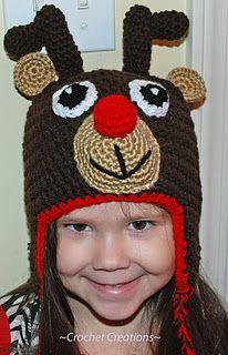 Reindeer hat:http://amray1976.blogspot.com/search/label/Crochet%20Rudolph%20Reindeer%20Ear%20flap%20Child%20hat