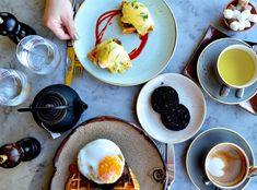 Eggs Benedict and Duck & Waffle, tea and coffee at Duck & Waffles, London. Where to eat in London. Dim Sum, Eating Well, Traveling By Yourself, Waffles, Destinations, Eggs, London, Tea, Coffee