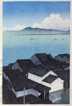 Okitsu Town, Shizuoka  by Kawase Hasui, 1934  (published by Watanabe Shozaburo)