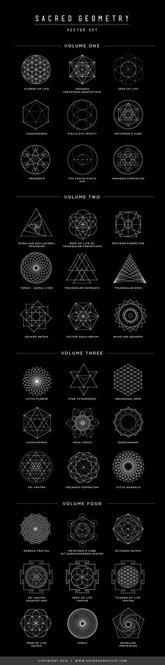 Sacred Geometry symbols, their names and meanings---Great tattoo ideas!! #geometrictattoos