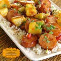 """It just doesn't get any easier or delicious than Hawaiian Pineapple Sweet & Sour Smoked Sausage. If you're a """"sweet & sour"""" fan, you're gonna' luv this one! Recipes With Pineapple Bacon Sausage, Chicken Sausage Recipes, Sausage Recipes For Dinner, Smoked Sausage Recipes, Pineapple Recipes, Sausage Meals, Hawaiian Recipes, Cooking Recipes, Healthy Recipes"""