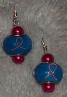 Pink Ribbon Drop Fish Hook Earrings Handcrafted by JewelryByTracyO on Etsy