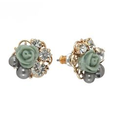 LC Lauren Conrad Gold Tone Simulated Crystal & Simulated Pearl Flower... (10 AUD) ❤ liked on Polyvore featuring jewelry, earrings, accessories, post earrings, faux pearl stud earrings, stud earrings, floral stud earrings and flower charms