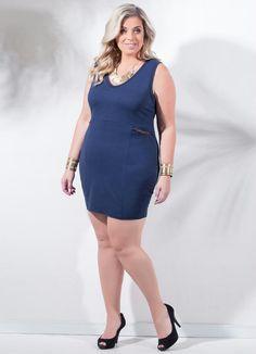 Vestido Tubinho Marinho Plus Size - Posthaus
