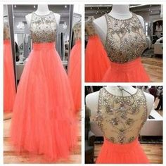 Prom Dresses,Scoop Prom Gowns,Long Tulle Prom Dresses,Coral Prom Dress,Prom Dresses with Beadings,Sheer Back Prom Dress, 2017