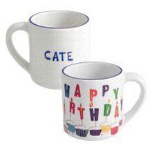 Personalized 12 Ounce Ceramic Birthday Mugs Birthday Mug, Birthday Gifts, Stoneware, Ceramics, Mugs, Tableware, Birthday Presents, Ceramica, Pottery